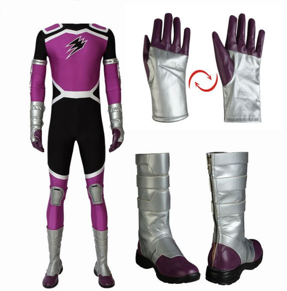 Anime Juken Sentai Gekiranger Cosplay Fukami GOU Costume GEKI Violet Jumpsuit with Boots Full Set Halloween Outfit Custom Made - Cosplay Infinity