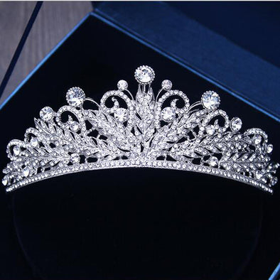 Charm Bridal Tiara Crown Clear Crystal Rhinestones Women Handmade - Cosplay Infinity