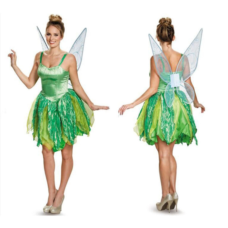 86c5100f087 Children adult Girl Deluxe Green Tinker Bell princess and the Pirate flower  Tinkerbell Fairy Costume fancy dress with Wing