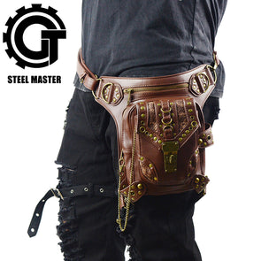 Cool SteamPunk Waist Bag Retro Brown Crossbody Bag Motorcycle Leg  Bag - Cosplay Infinity