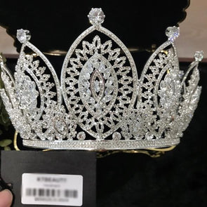 luxury zircon crown tiara rhinestones Royal Queen princess party crown