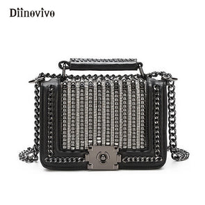Luxury Women Handbag Punk Style Rivet Tote Designer Diamonds Flap High-Quality - Cosplay Infinity