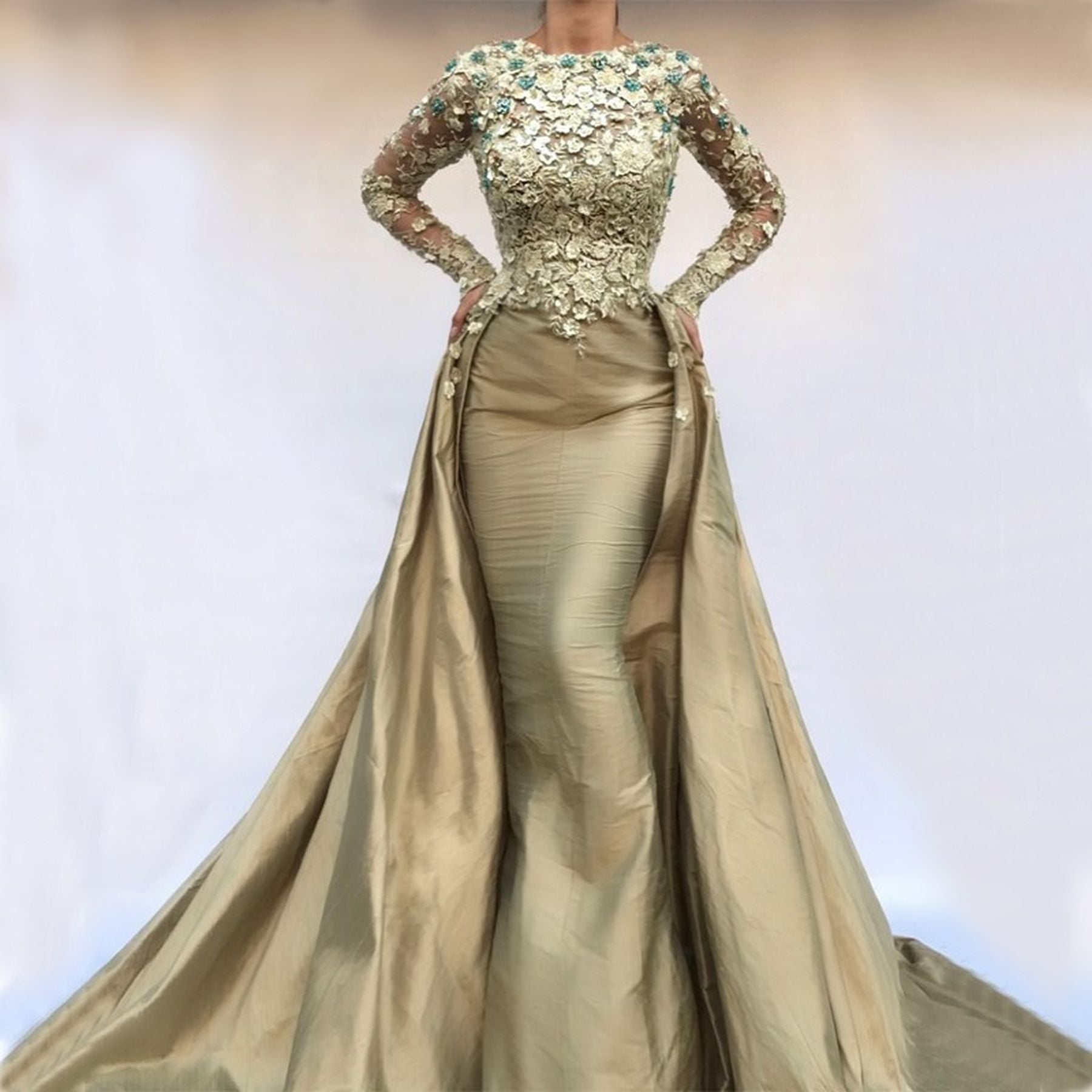 d8d236dc9a Detachable Muslim Evening Dresses Mermaid Long Sleeves Pearls Lace Isl –  Cosplay Infinity