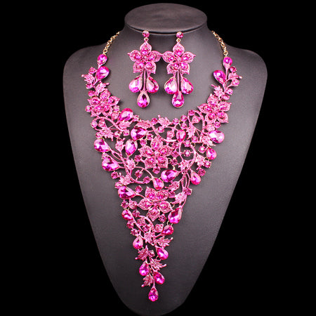 3cfb60c7b56 Fashion Bridal Jewelry Sets Rhinestone Crystal Statement Necklace Earrings  Sets Indian Wedding Costume Jewellery Gift for Women