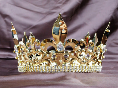 Awesome Men Full Round Gold Crown Imperial Medieval Large Clear Crystals Rhinestones Cosplay - Cosplay Infinity