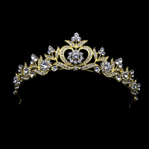 Gold Color Bridal Crowns And Tiaras Luxury Princess Crystal Rhinestone Tiara