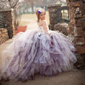 Gorgeous Flower Girl Dresses with Train  White Satin Top 3 Layer Tutu Dress For Wedding Party Birthday - Cosplay Infinity
