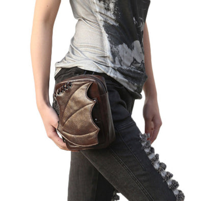 Gothic Steampunk Bat Wing Design Leg Bag Brown Crossbody Shoulder Bag - Cosplay Infinity