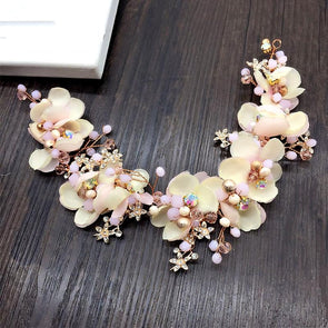 Handmade Headband Crystal Beads Pink Floral Very Pretty