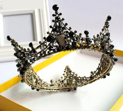 Black Rhinestones Crystal Crown Tiara Cosplay Prom Party - Cosplay Infinity