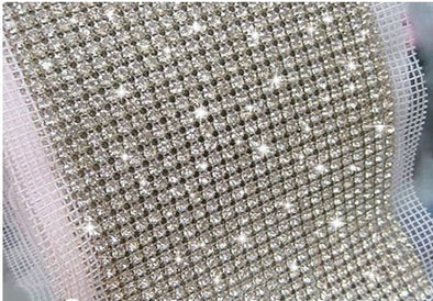 24 Rows Clear Crystal Rhinestone Mesh Trim 5mm Chain Silver 5 yds/roll - Cosplay Infinity