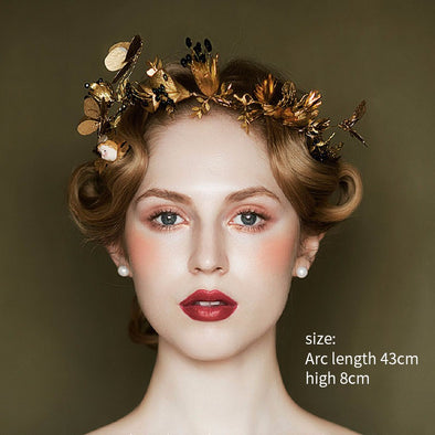 Baroque Gold Leaf Black Rhinestones Wedding Tiara Crown Butterfly Designs Cosplay - Cosplay Infinity