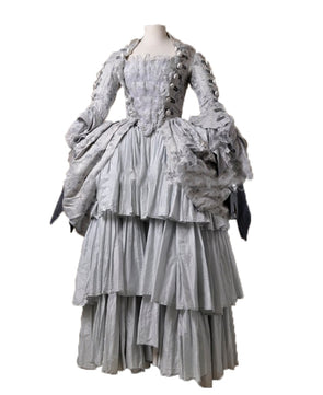 Royal Grey Tulle Marie Antoinette Court Regency Renaissance Medieval Gown Dress