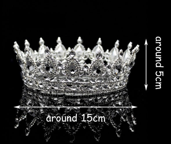 Clear Crystal Luxury Hair Jewelry Round Rhinestones Wedding Tiaras