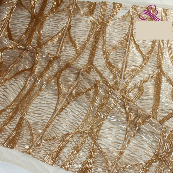 1 yard white/matte gold/black sequins on mesh embroidery lace fabric elastic sequins gown dress - Cosplay Infinity