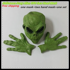Halloween Free shipping Realistic Green UFO Alien Face Head Mask Creepy Costume Party Cosplay Scary mask with hand mask - Cosplay Infinity