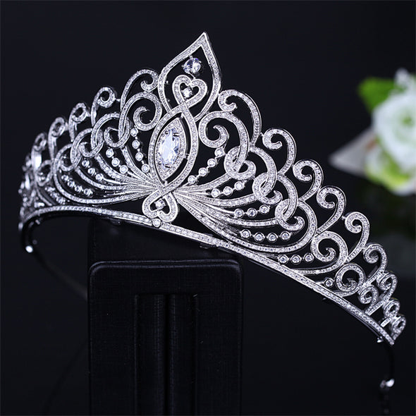 AAA Cubic Zirconia Tiara Crown Bridal Wedding Hair Accessories Jewelry - Cosplay Infinity