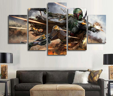5 Pcs Star Wars Warrior Boba Fett Canvas Wall Art Framed Picture Home Decoration - Cosplay Infinity