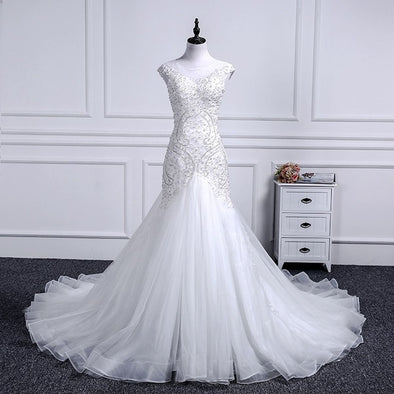 Wedding Dress Mermaid Scoop Neckline Lace Beading Short Sleeve Custom Made Plus Sizes - Cosplay Infinity