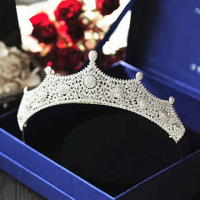 Micro Paved Full Cubic Zircon Tiara Crown Diadem Bridal Cosplay Hair Accessories