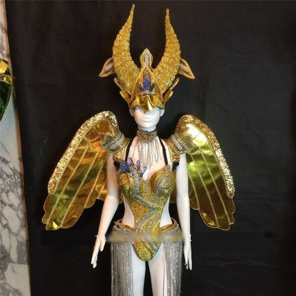 Carnival Gold Cosplay Wings Headpiece Catwalk Ballroom Costume Stage Dance - Cosplay Infinity