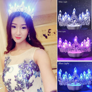 LED Light Crowns Shining Crystal Rhinestone Tiaras Bride Queen Cosplay