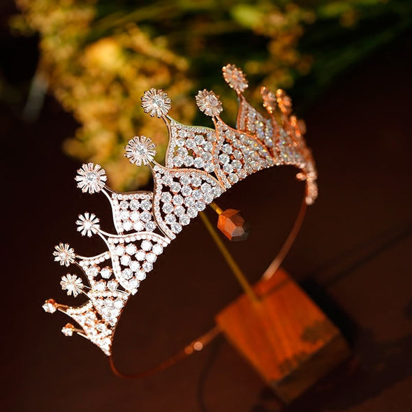Zircon Crown Tiara Golden Bridal Crown Royal Queen Princess Pageant Cosplay