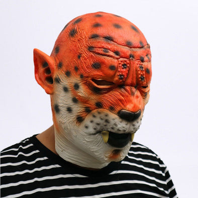 Realistic Tiger Latex Mask Leopard Head Scary Adult Halloween Cosplay Classic High Quality