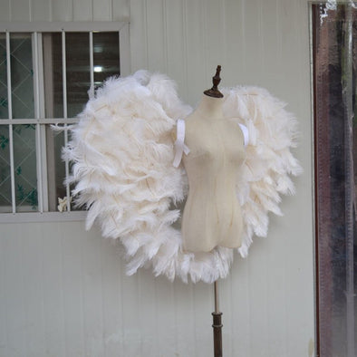 Amazing White Angel Ostrich Feather Wings for Cosplay Photography Game Stage
