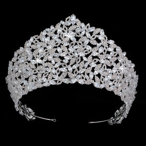 Luxury CZ Cubic Zircon Crown Tiaras Sparkling Princess Queen Wedding Cosplay