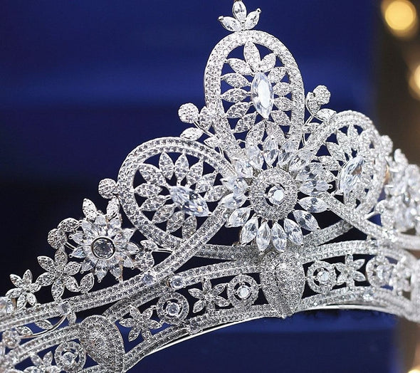 Micro Paved Full Cubic Zircon Tiara Flower Crown Bridal Wedding Cosplay
