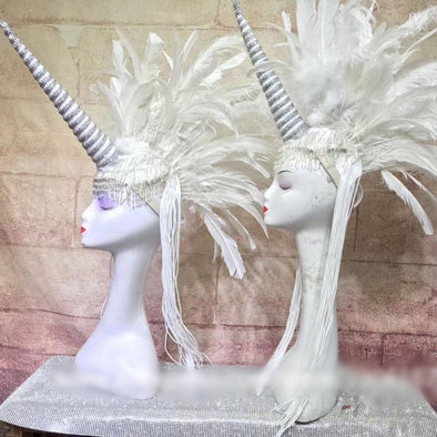 Cosplay Dance Costumes Sexy Feather Catwalk Stage Unicorn Headdress - Cosplay Infinity