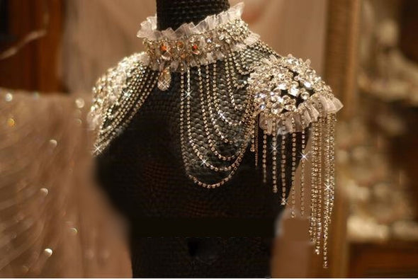 Bridal Chain Tassel Shoulder Beads Lace Crystal Jewelry Steampunk Cosplay - Cosplay Infinity