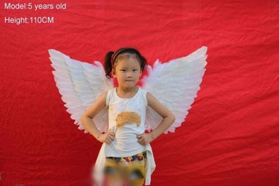 Children White Feather Angel Wings Birthday Gift Wedding Cosplay