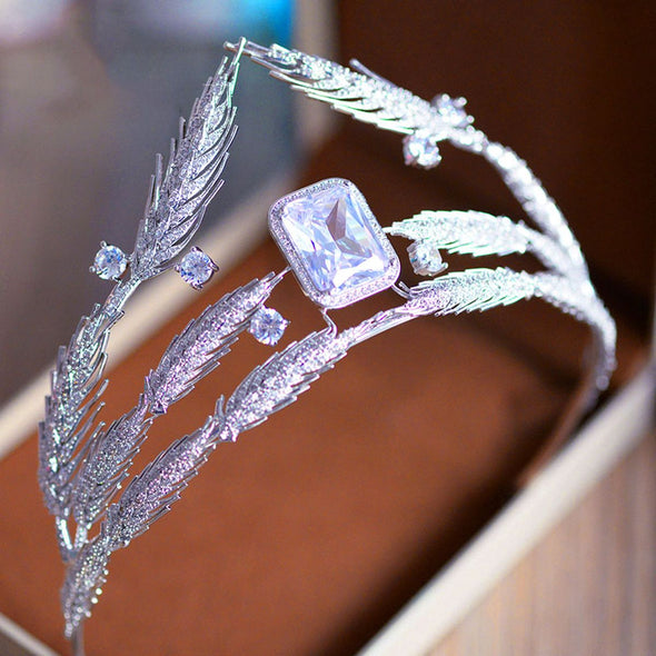 AAA Cubic Zircon Large Wheat Designs Crown Tiara Square Cubic Zircon