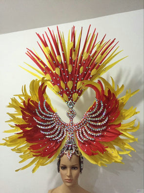 Samba Dance Carnival Cosplay Costumes Headpieces Diamond Feather Headdress