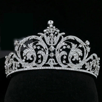 Silver Vintage Luxury Zircon Gorgeous Crown Tiara Crystal Hair Jewelry Romantic Cosplay - Cosplay Infinity