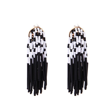 60's Boho Black White Acrylic Bead Drop Earrings for Women