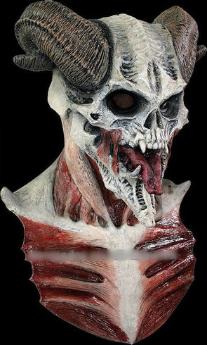 Latex Full Head Realistic Horror Demon Costume Horns Skull Mask