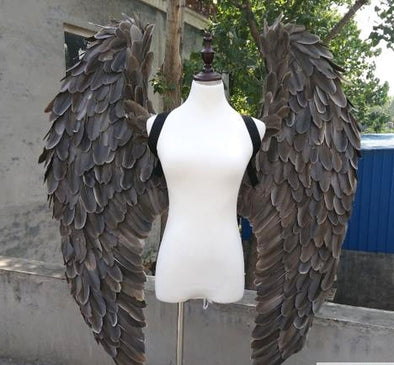 Awesome Large Grey, Gray Angel Feather Wings Stage, Party, Cosplay Photography