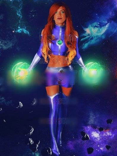 Teen Titans Starfire Cosplay Costumes Lycra Spandex Zentai Adults Kids Superhero Bodysuit Custom Made - Cosplay Infinity