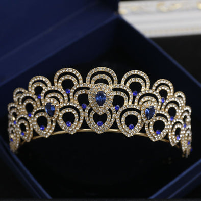 Blue, Red, White Crystal Crowns Tiaras Bridal Rhinestone Wedding Hair Accessories - Cosplay Infinity