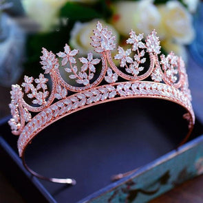 High-end Royal Queen Rose Gold Cubic Zircon Tiaras Crowns Luxurious - Cosplay Infinity