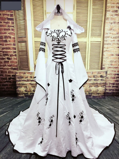 Medieval Wedding Dress Custom Made Embroidery A Line White And Black Satin Wedding Dress - Cosplay Infinity
