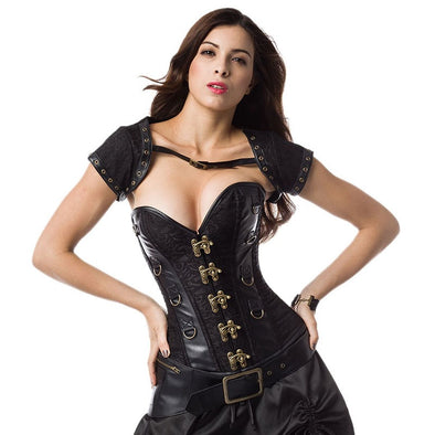 Vintage Gothic Corset Steampunk Clothing Plus Size Women S-6XL Black ...
