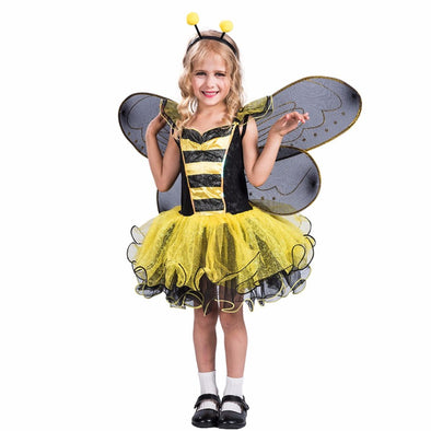 High Quality Yellow Dress Wings Bumble Bee Butterfly Party Cosplay