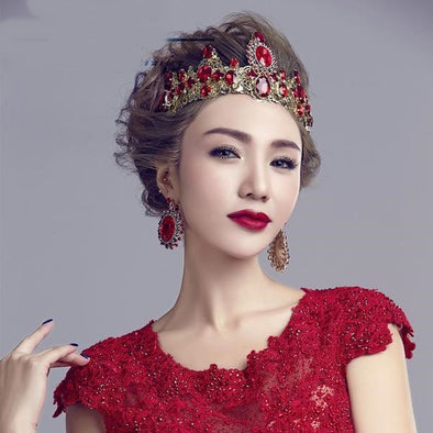 Baroque Crown Bridal Jewelry Red Wedding Tiara Cosplay Costume - Cosplay Infinity