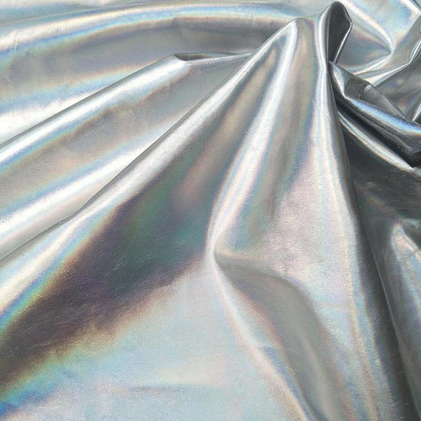 Glitter Silver Printed Synthetic Leather Fabric Vinyl Textile Cosplay