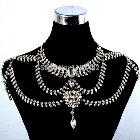 New Original Design Bridal Sets Rhinestone Chain Shoulder Necklace Cosplay Jewelry