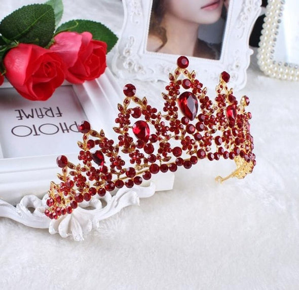 Baroque Wedding Gold Silver Red Crystal Tiaras Bridal Rhinestone Pageant Hair Jewelry - Cosplay Infinity